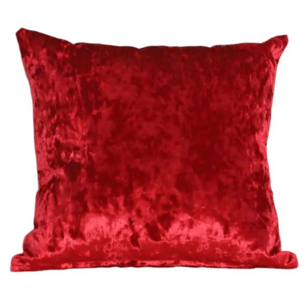 crushed velvet cushion red