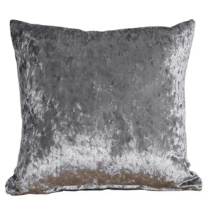 crushed velvet cushion steel grey