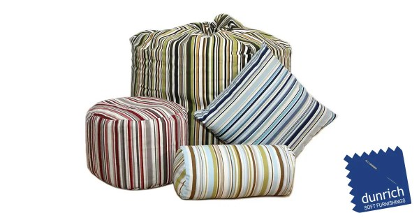 goa stripe pouffe cube and cushions fb