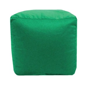 green cotton drill cube fabric footstool pouffe