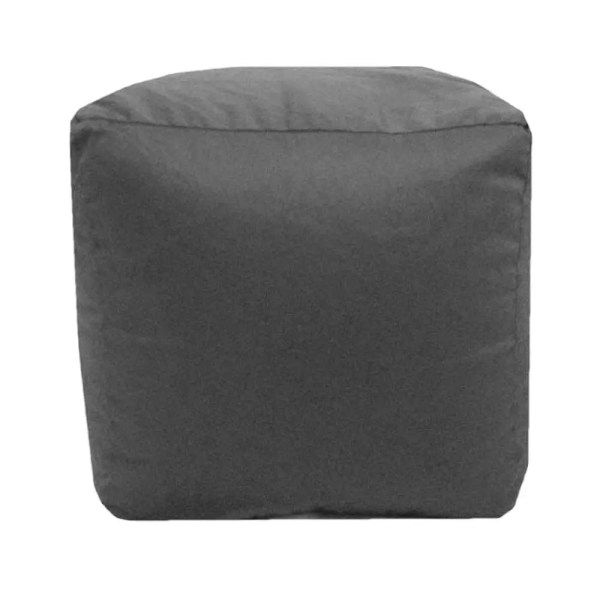 grey cotton drill cube fabric footstool pouffe