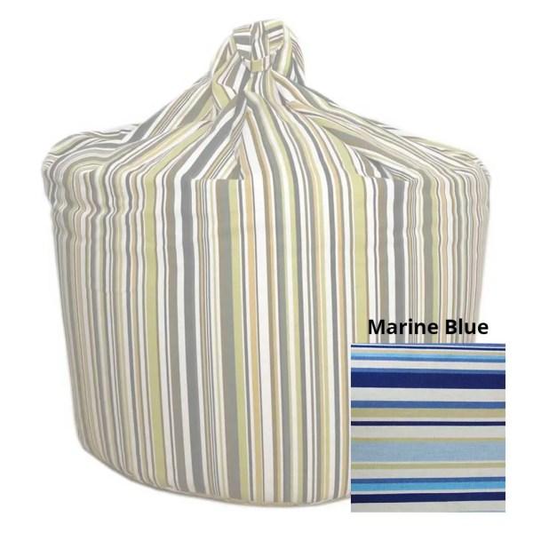 large marine blue goa striped cotton beanbag