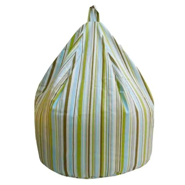 large sky blue goa striped cotton beanbag