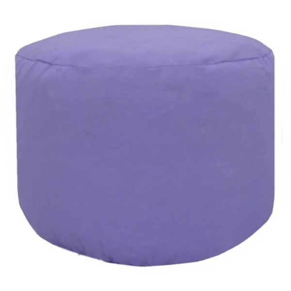lilac cotton drill round footstool pouffe