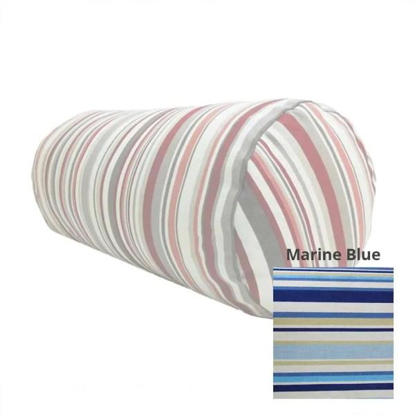 marine blue goa striped cotton bolster cylinder cushions
