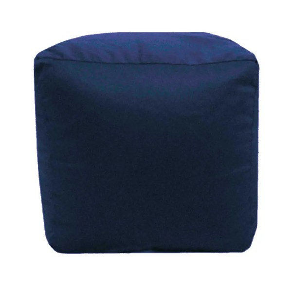 navy blue cotton drill cube fabric footstool pouffe