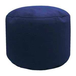 navy blue cotton drill round footstool pouffe