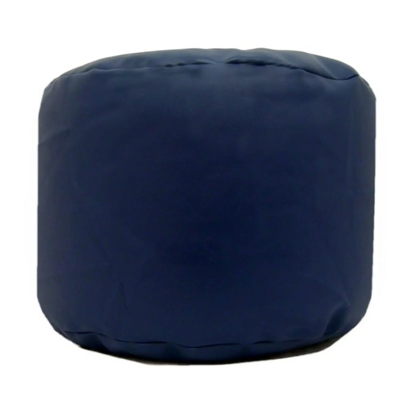 navy blue faux leather large round pouffe