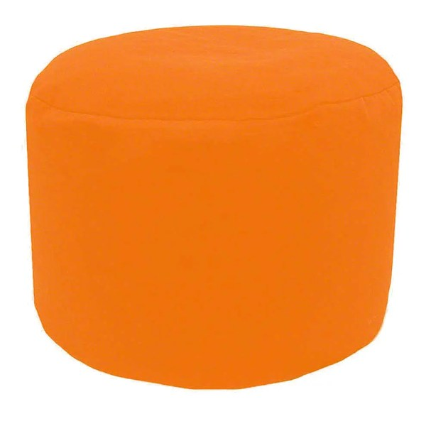 orange cotton drill round footstool pouffe