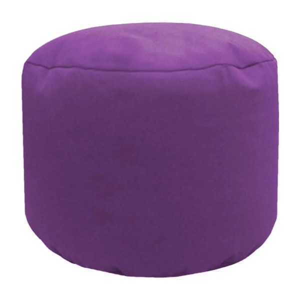 purple cotton drill round footstool pouffe
