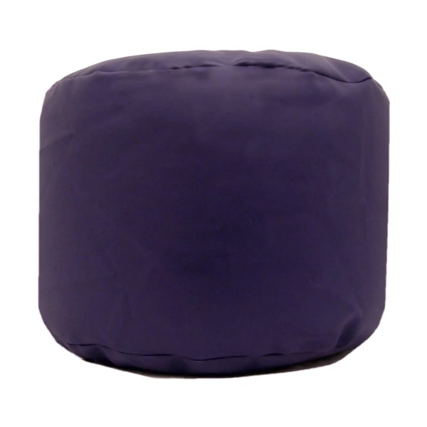purple faux leather large round pouffe