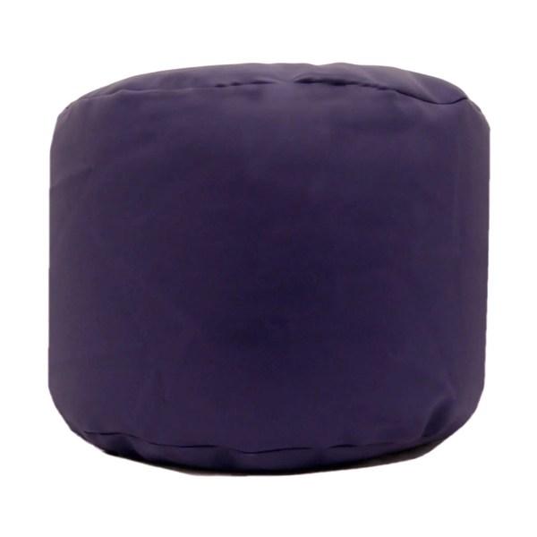 purple faux leather large round pouffe