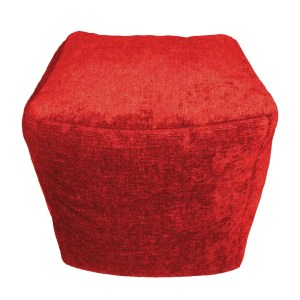 red chenille cube footstool pouffe