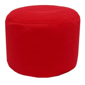 red cotton drill round footstool pouffe