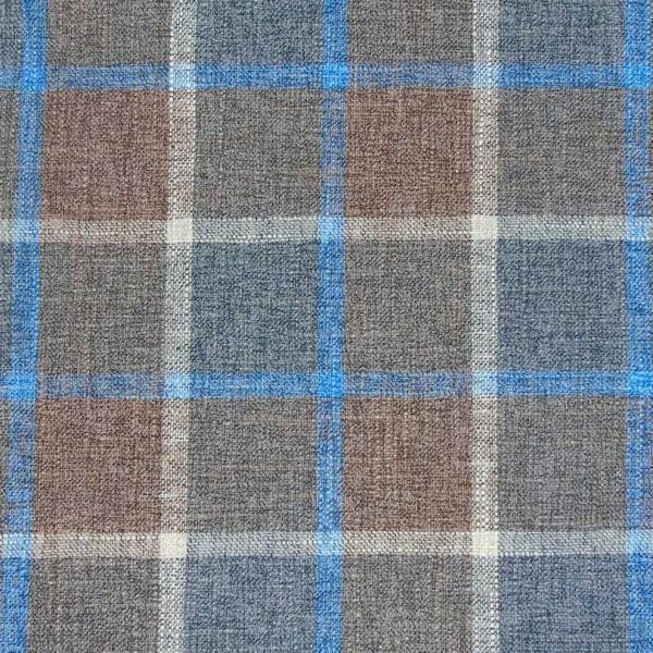 scatter cushion brown with blue check pattern