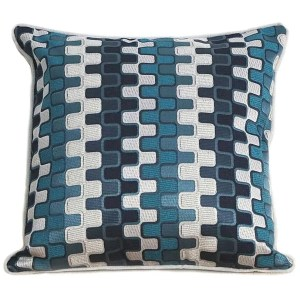 teal geometric patterned scatter cushions covers