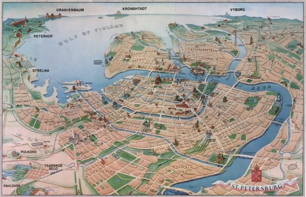 St Petersburg Gezisi turist haritası