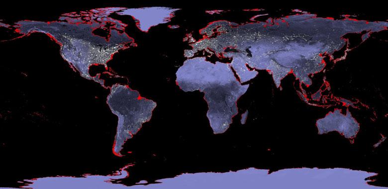 Küresel ısınmadan dolayı eriyecek buzulların yükselteceği sulardan en çok etkilenecek bölgeler haritada kırmızıyla işaretli.