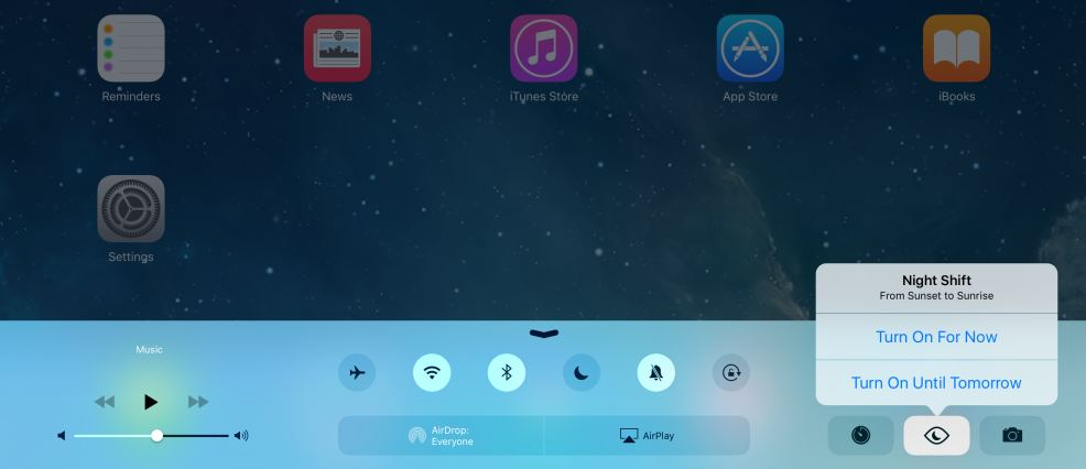 iOS 9.3 nightshift