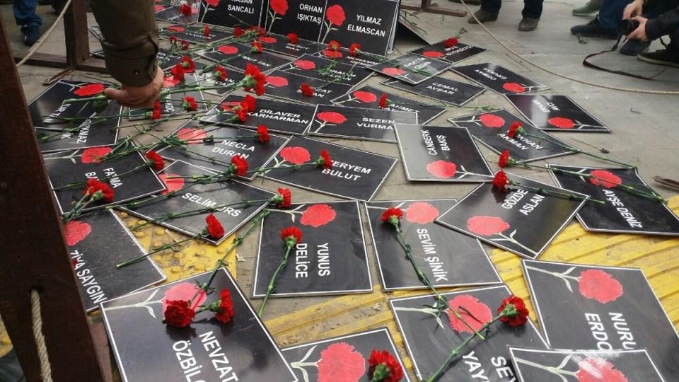 10 Ekim Ankara Katliamı'nın 5. ay dönümü anmalarından (Fotoğraf: sendika.org)