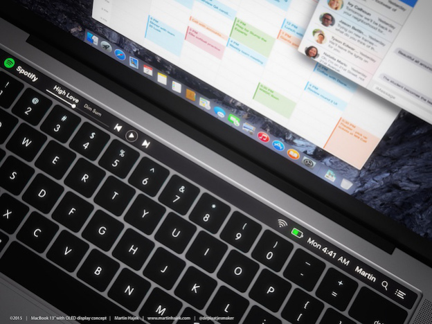 Dokunmatik fonksiyon barı bulunan MacBook konsepti