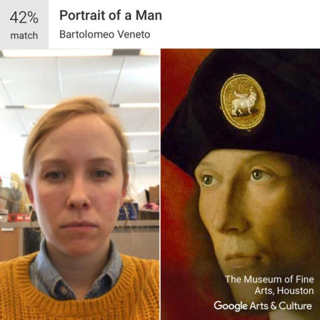 """Ancak, daha ciddi bir yüz ifadesiyle fotoğraf yüklediğinde ise Bartolomeo Veneto'nun """"Bir Erkek Portresi""""ni andırdığını gördü."""