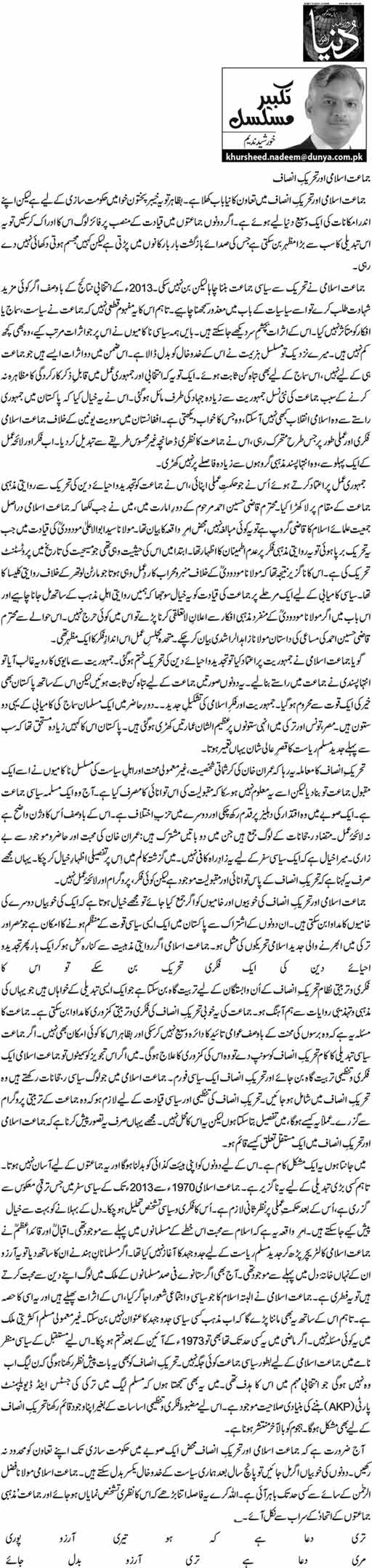 Jamat e Islami Aur Tehreek e Insaaf - Khursheed Nadeem