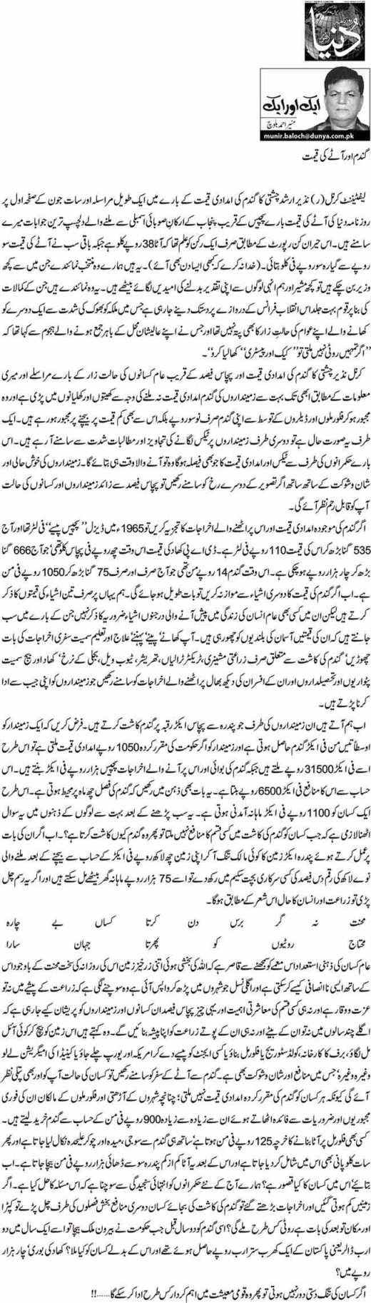 Gandam Aur Atay Ki Keemat - Munir Ahmed Baloch