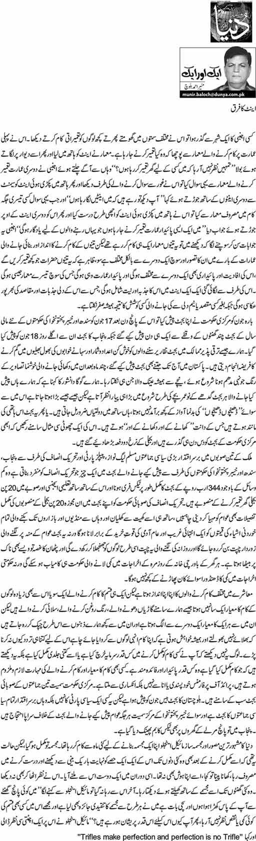 Ieent Ka Fark - Munir Ahmed Baloch