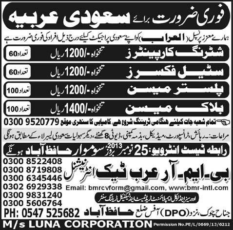 Carpenter,Steel Fixer and Skilled Worker Required In Saudi Arabia