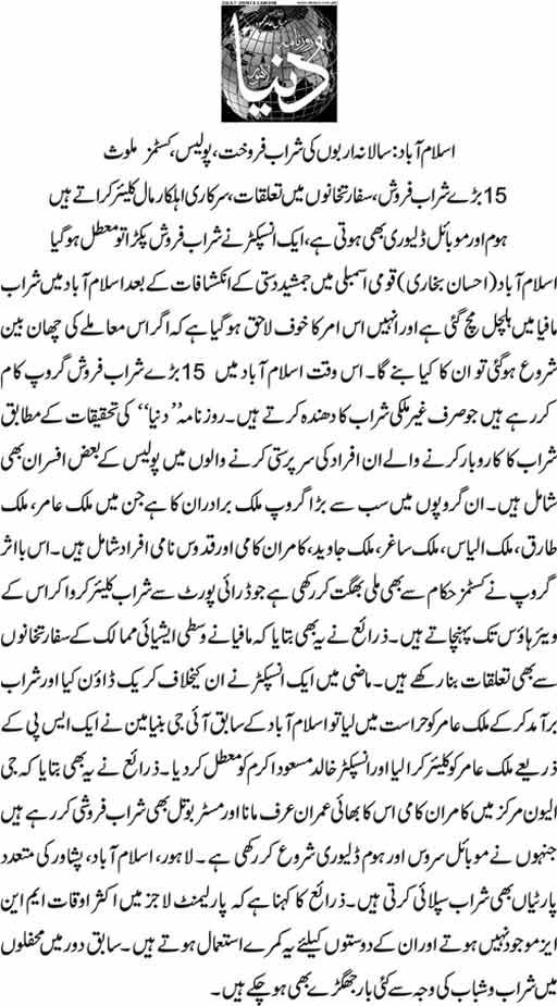 Islamabad: Salana Arbon Rupees Ki Sharab Firokht,Police Customs Mulawis