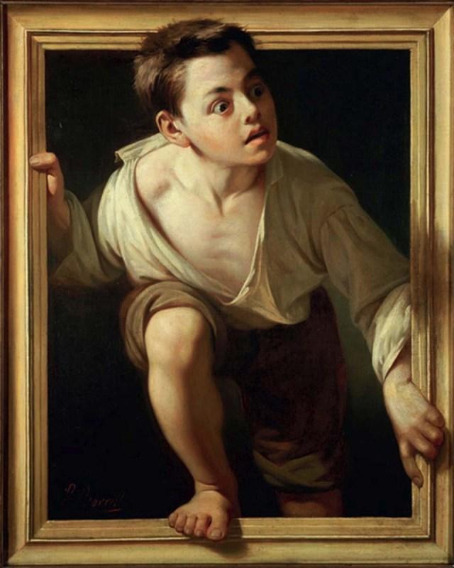 """Optical Illusion in Fine Art - A Victorian Trompe-l'œil Example """"Escapting Criticism"""" by Pere Borrell del Caso, 1874,"""