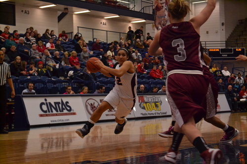 Emily Gorham / The Duquesne Duke Jocelyn Floyd goes up for a layup for the Dukes, who lost 69-68 to St. Joseph's in overtime.