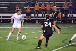 Taylor Miles   The Duquesne Duke Freshman midfielder Maddie Layman looks to make a move toward net during the Dukes' 3-1 victory over St. Bonaventure. She's started every game for the Red and Blue this season.