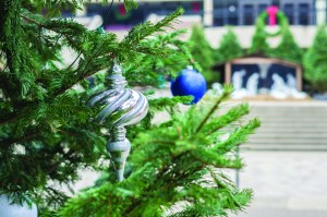 Photo by Aaron Warnick | Photo Editor. Duquesne's campus is prepped for Christmas as decorations, including a tree, line Academic Walk. The Night of Lights, a University favorite, will start Thursday at 4:30 p.m. with Christmas caroling outside the Union.