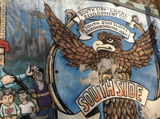 Zach Brendza / The Duquesne Duke - A section of a mural by Richard Bach is located at 2701 S. 18th St., near the corner of S. 18th Street and Quarry Way.