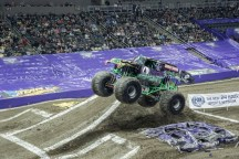 Grave Digger attempts to pop a wheelie Friday at Monster Jam at Consol Energy Center.