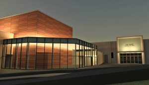 Courtesy photo. An architect's rendering of the black box theater at night, which will be under construction starting in April.
