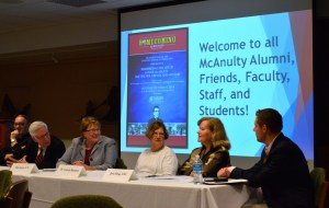 Photo by Jen Cardone   The Duquesne Duke. Panelists discuss the life of the Rev. Henry McAnulty at an event Saturday morning.