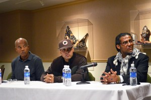 Photo by Jen Cardone | The Duquesne Duke. (From left to right) Author John Edgar Wideman, rapper Jasiri X and criminal justice expert Tony Gaskew discuss social justice Friday in the Africa Room.
