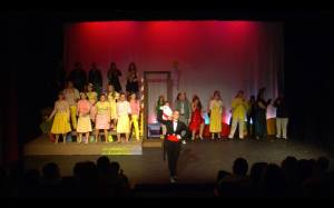 Photo Courtesy of Andrew Havranek. Sara Sawick takes a bow after playing the Cat in the Hat in Spotlight Musical Theatre's 2012 production of Seussical.