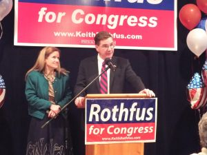 Photo Courtesy of Catherine Salmento. Congressman Keith Rothfus gives a victory speech.