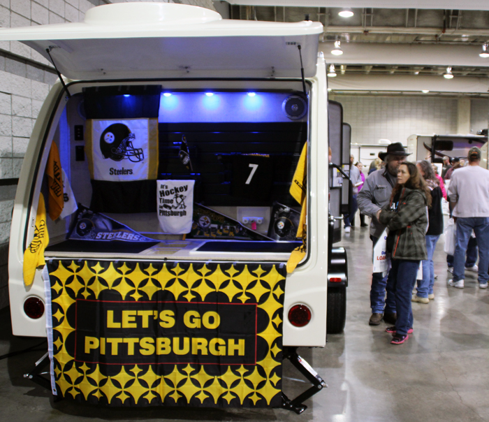 (Seth Culp-Ressler/Features Editor) A travel trailer decked out in Pittsburgh garb.