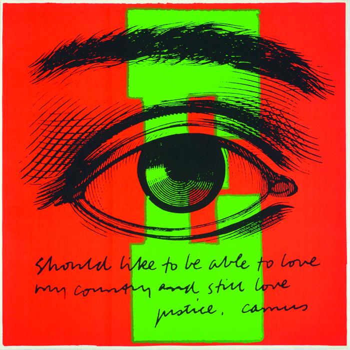 (Courtesy of The Duquesne Duke) Corita Kent, E eye love, 1968, courtesy of Corita Art Center, Los Angeles.