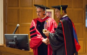 Photo by Claire Murray | Photo Editor. Law school dean Ken Gormley (left) shakes the hand of Costa Rican President Luis Guillermo Solís (right) after giving him an honorary degree Sept. 27.