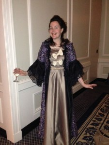 (Courtesy of Laura Engel) Engel at a conference dressed up in 18th century clothing.