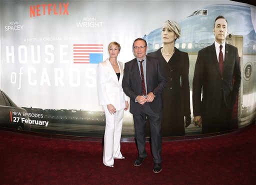 Actors Kevin Spacey and Robin Wright, left, pose for photographers upon arrival at the House Of Cards season 3 World Premiere at the Empire Cinema in central London, Thursday, Feb. 26, 2015. (Photo by Joel Ryan/Invision/AP)
