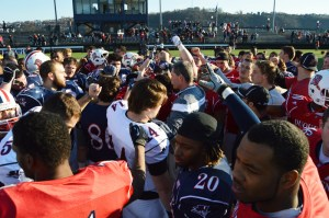 Joseph Guzy / The Duquesne Duke Duquesne football players huddle up after the annual spring football game. Everyone from walk-ons to starters had the opportunity to showcase their skills.