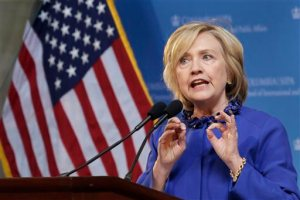 AP Photo. Former Secretary of State Hillary Clinton at a forum in New York Wednesday.
