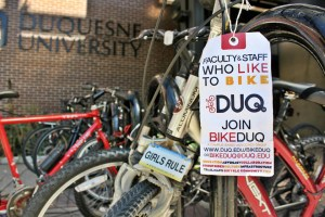 Rachel Strickland | The Duquesne Duke Biking is becoming more popular on Duquesne's campus, according to members of the BikeDuq club. The club recently sponsored a week of biking-related activities that included group rides, informational sessions and city biking lessons.